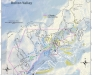 A map of Bolton Valley's Nordic and Backcountry Network with more than two dozen glades listed.
