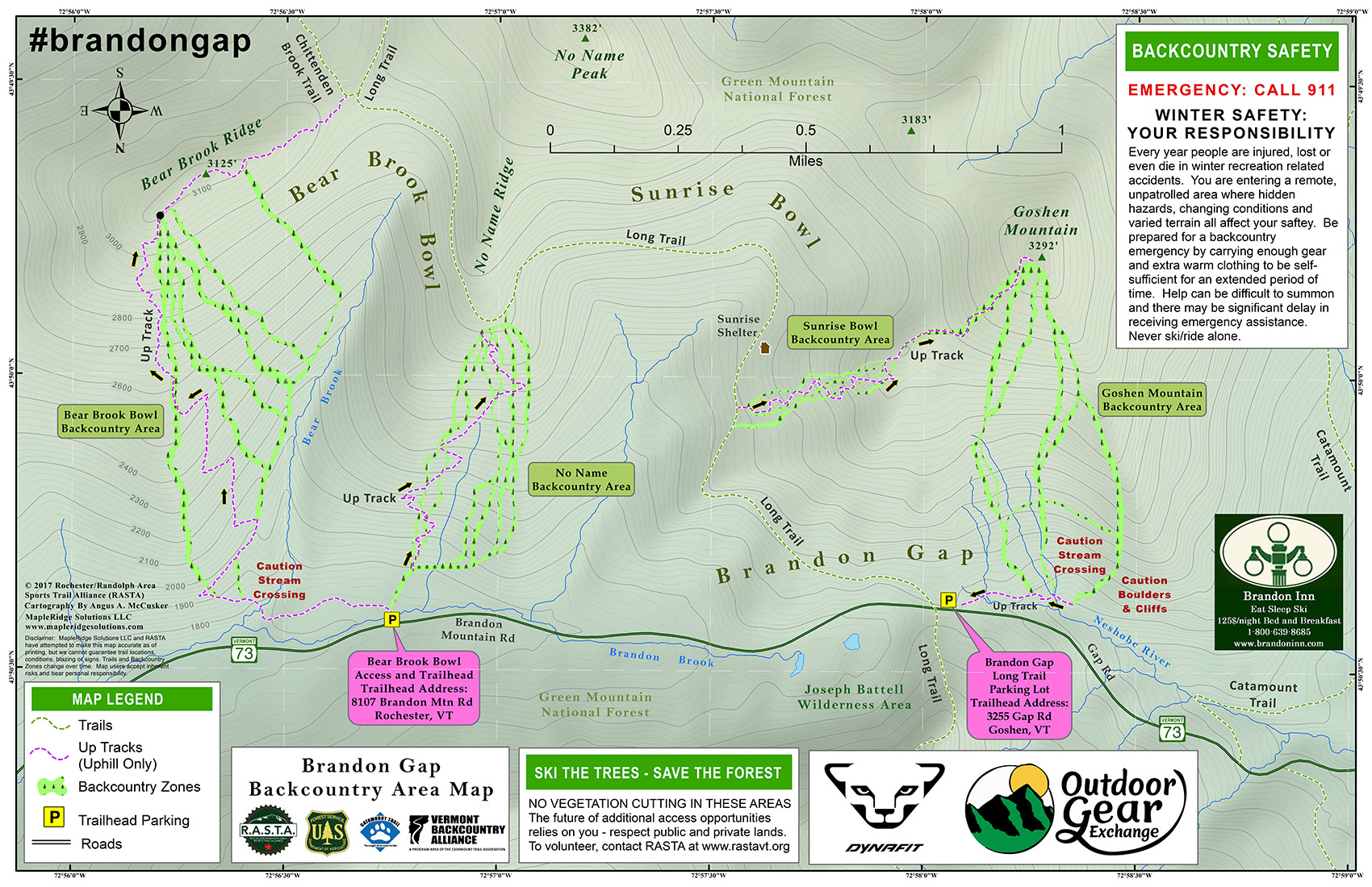 A copy of RASTA's detailed map for the Brandon Gap backcountry area.  Please visit RASTA's website for a full-size version of the map