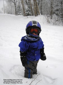 An image of Dylan standing in fresh Powder on the Sprig O' Pine trail at Bolton Valley Ski Resort in Vermont