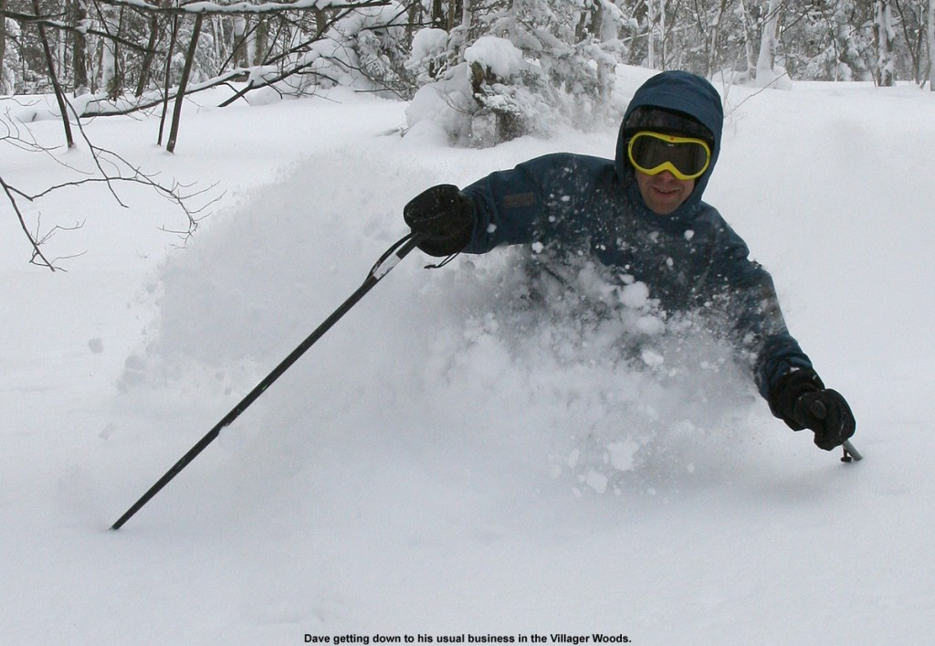 An image of Dave skiing in deep powder in the Villager Trees area of Bolton Valley Ski Resort in Vermont