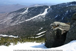 An image of some of the trails of Stowe Mountain Ski Resort in Vermont taken from the alpine area up near the Chin of Mt. Mansfield