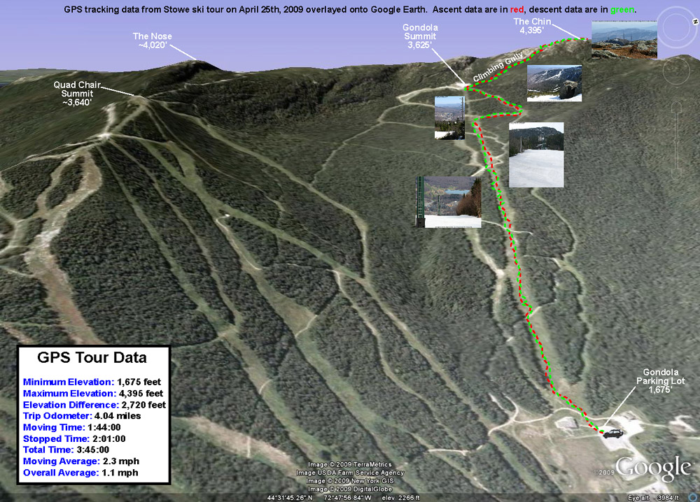 A Google Earth/GPS map showing the route of a ski tour up through Stowe Mountain Resort to the Chin of Mt. Mansfield on April 25th, 2009