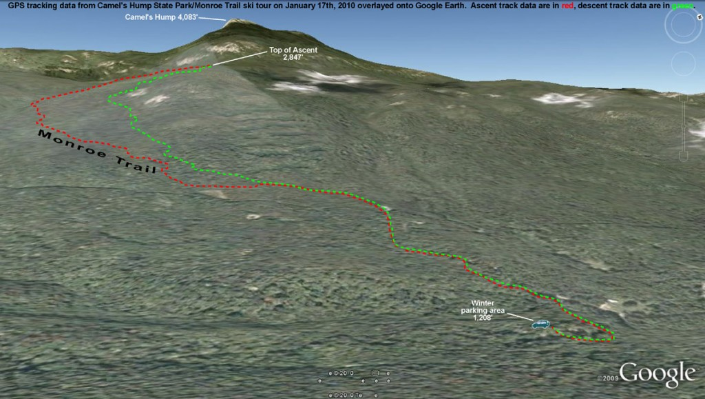 An image of a GPS track plotted on Google Earth of a backcountry ski tour in the Monroe Trail area of Camel's Hump