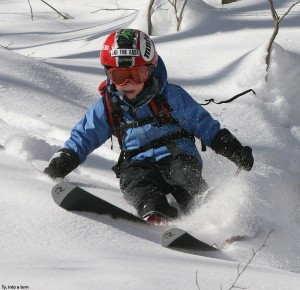 An image of Ty skiing backcountry powder in the Bald Hill area near Camel's Hump