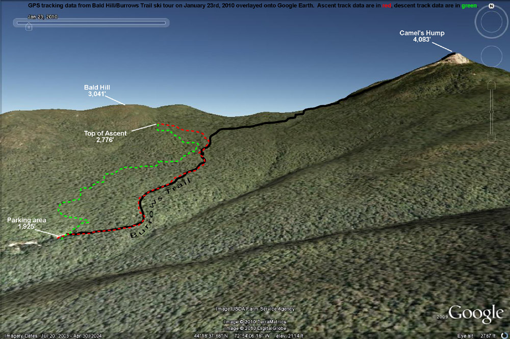 A Google Earth Image with GPS tracking data from a ski tour on Bald Hill near Camel's Hump in Vermont
