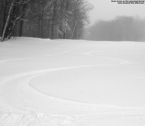 An image of ski tracks on Timberline Run at Bolton Valley