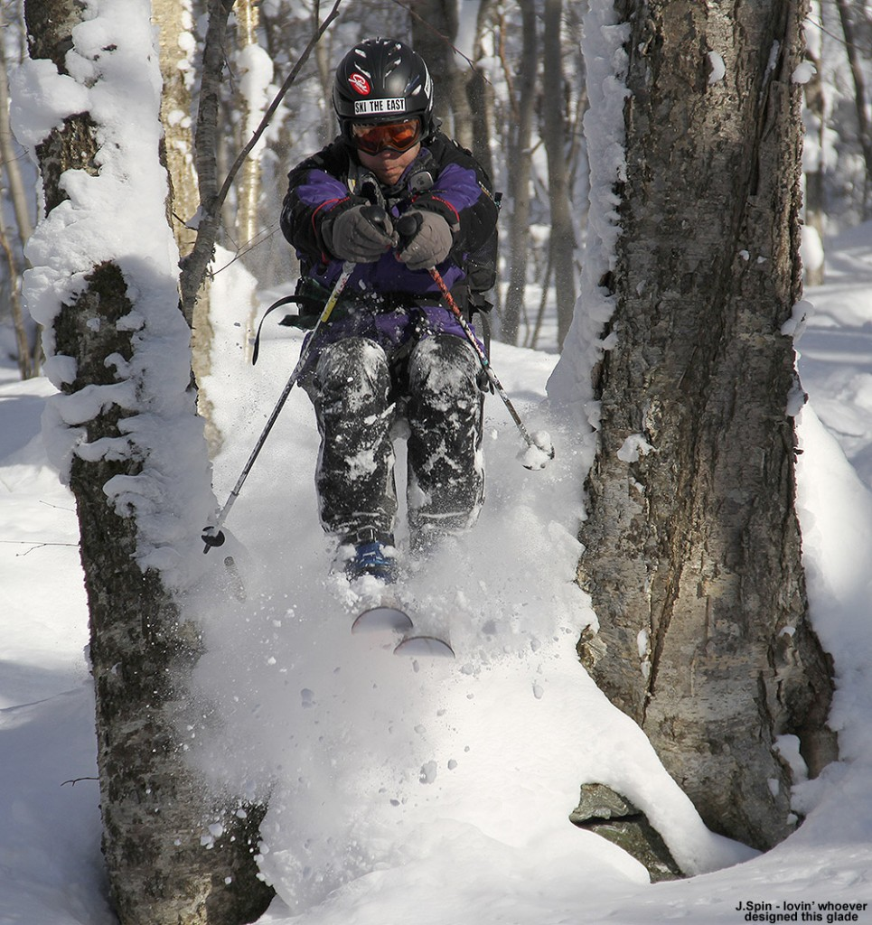 An image of Jay catching air while Telemark skiing in the powder today on Bolton Valley's Nordic & Backcountry Network in Vermont