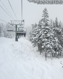 Stowe Mountain Resort in Vermont - An image from the Sensation Quad at Spruce Peak as we ride up amidst snowfall