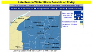 BTV Winter Weather Warnings Map