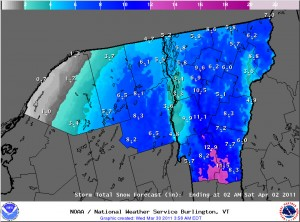 Potential Snowfall Accumulations Map