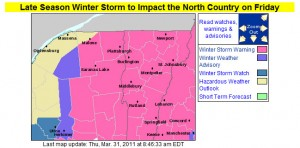 Winter Weather Advisories Map from the BTV NWS