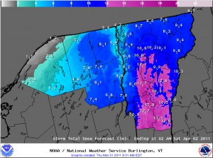 Snowfall accumulations map for Vermont and Northern New York