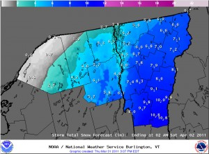 BTV NWS Storm Total Snow Forecast map