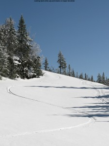 A picture of ski tracks on Upper Gondolier at Stowe