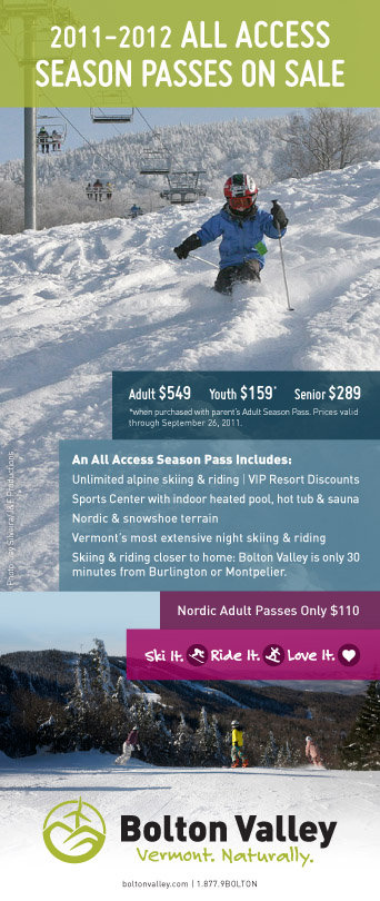 Advertisement for Bolton Valley Resort 2011-2012