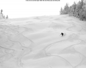 An image of skier in powder on Bolton Valley's Tattle Tale trail