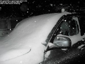 An image of our Subaru Forester covered with snow at Stowe Mountain Resort in Vermont
