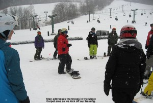 Image of Stan Biasini providing snowboarding instruction