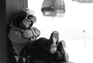Dylan kickin' back at the Cliff House atop the Gondola at Stowe Mountain Resort in Vermont