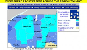 The frost and freeze warnings map from the National Weather Service Office in Burlington Vermont for September 16th, 2011
