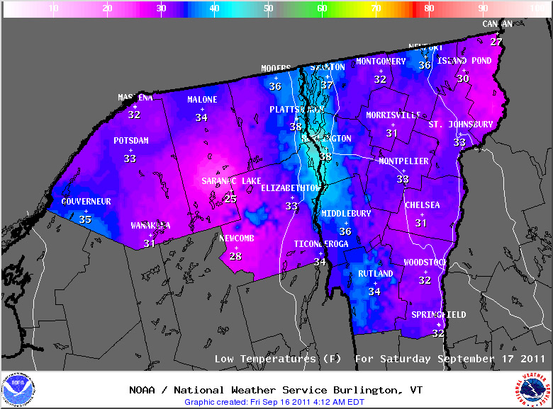 A map of predicted low temperatures for Vermont and New York from the Natioanl Weather Service in Burlington for September 17th, 2011