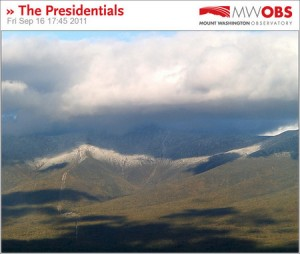 An image of the fall season's first snow on Mt. Washington New Hampshire