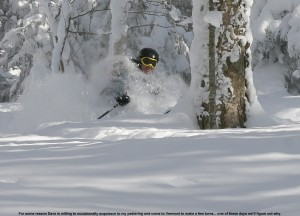 An image of Dave in very deep powder in the Bolton Valley Nordic & Backcountry Network, Vermont
