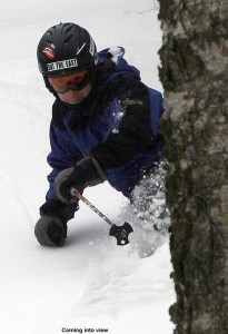 Image of Jay skiing in powder