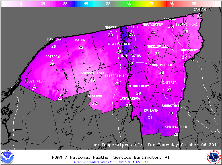 A map of predicted low temperatures for October 5, 2011 for Vermont and Northern New York