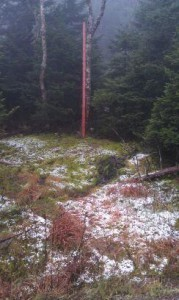 An image of snow that has been accumulating at the snow measurement stake up near the top of Mt. Mansfield in Vermont