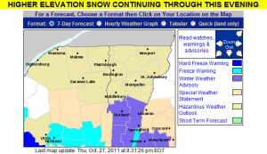 An map of the winter weather advisories in Vermont for October 27, 2011