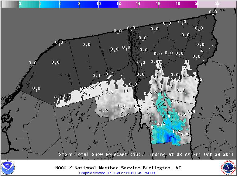 Snow accumulations map for October 27, 2011 from the National Weather Service Office in Burlington, Vermont