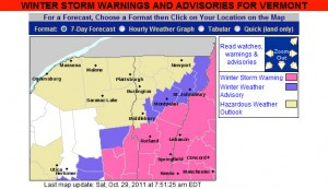 The map from the National Weather Service for Vermont Winter Storm Warnings and Advisories for October 29, 2011