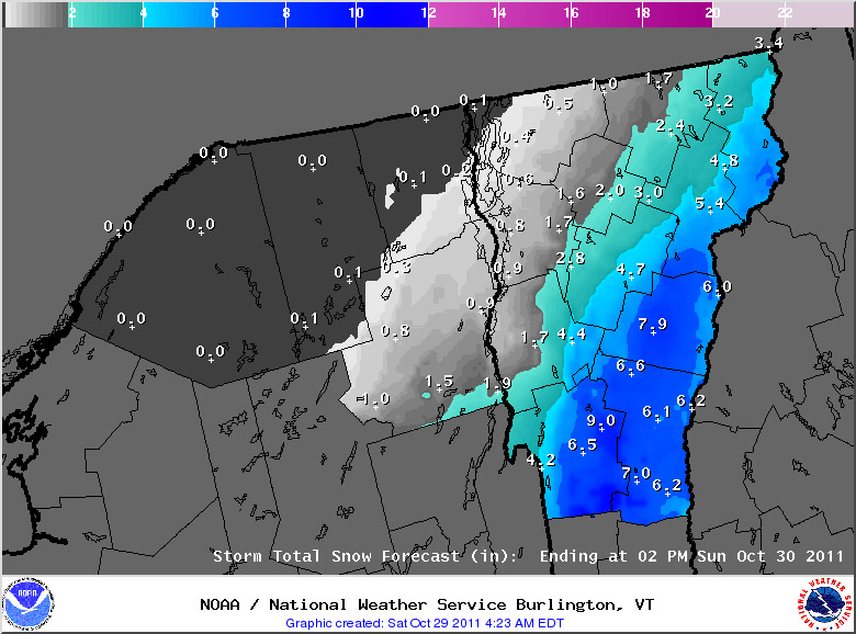 A map of the expected snowfall totals from the National Weather Service in Vermont
