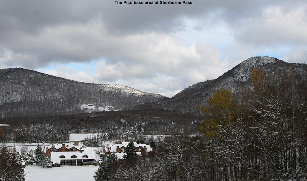 An image of Sherburne Pass from Pico ski area in Vermont with October snow