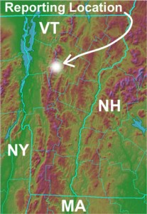An image of Vermont and the surrounding area highlighting the location of J&E Productions in Waterbury