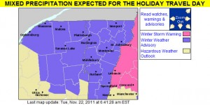An image of the Winter Weather Advisories and Warnings map from the National Weather Service in Burlington for November 22, 2011