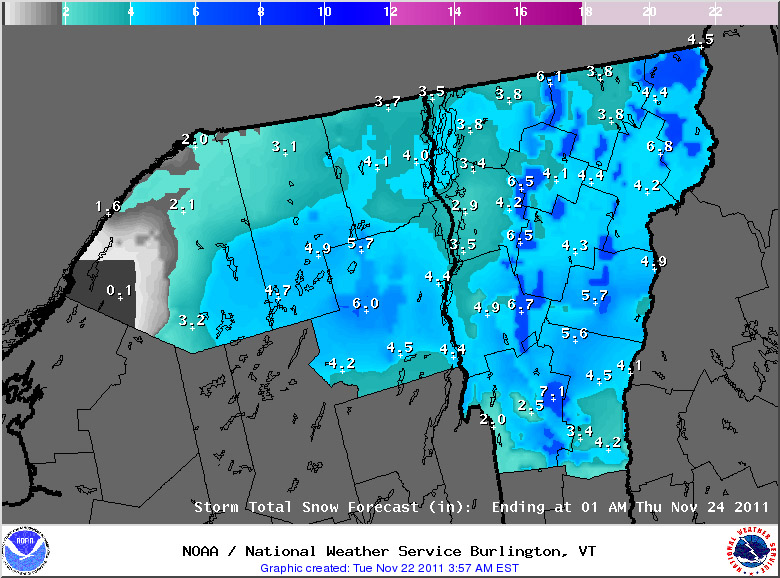 An image of the projected snowfall accumulations for the upcoming November snowstorm in Vermont