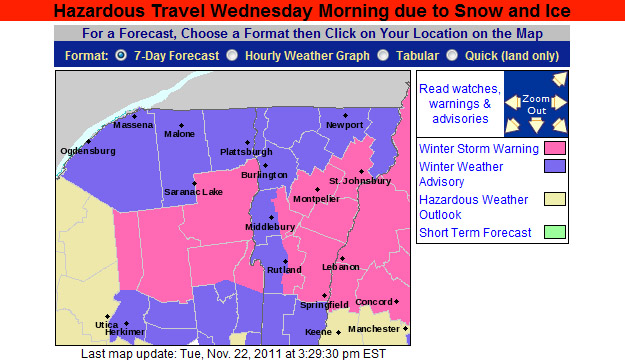 An image of the afternoon updagte for the Winter Weather Advisories and Warnings map from the National Weather Service in Burlington for November 22, 2011