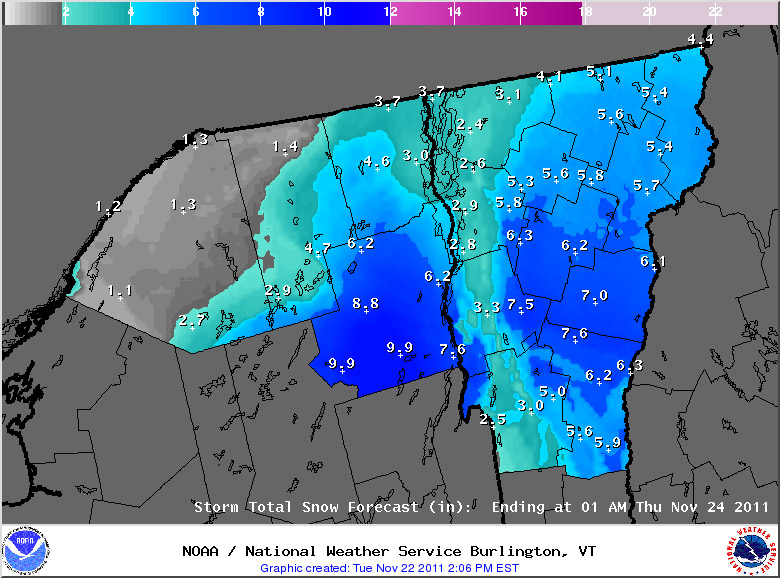 An afternoon update the projected snowfall accumulations for the upcoming November snowstorm in Vermont