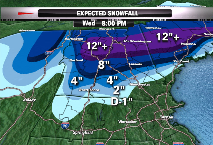 Matt Noyes' snowfall map for Northern New England snowstorm on November 22, 2011
