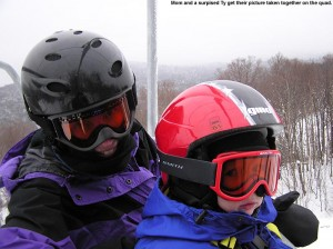 An image of Erica and Ty riding the Vista Quad Chairlift at Bolton Valley Resort in Vermont