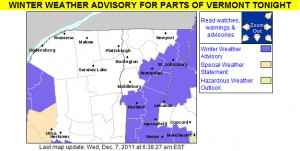 An image of the winter weather advisories put out by the National Weather Service in Burlington for the morning of December 7, 2011