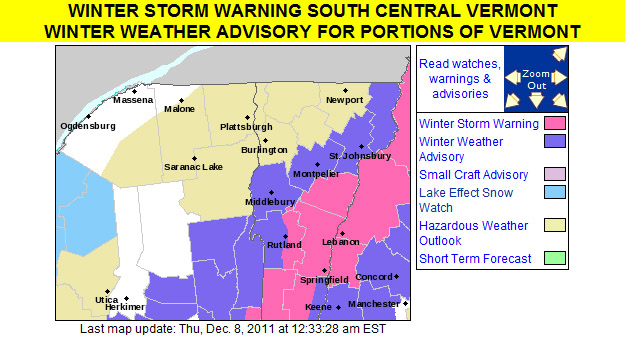 An image of the winter weather advisories put out by the National Weather Service in Burlington for the evening of December 7, 2011