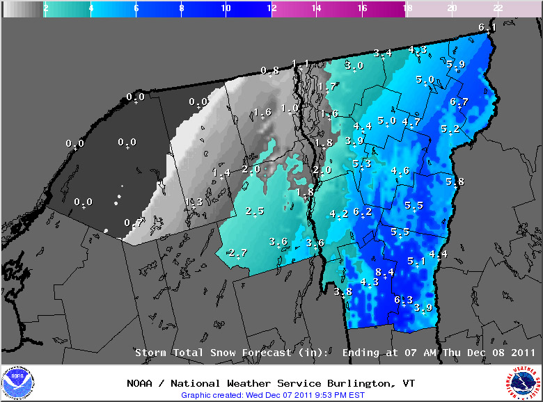 An image of the projected sowfall from National Weather Service in Burlington for the evening of 07DEC2011