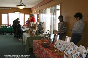 A picture of some of the Vermont food vendor tables at Bolton Valley - December 10, 2011