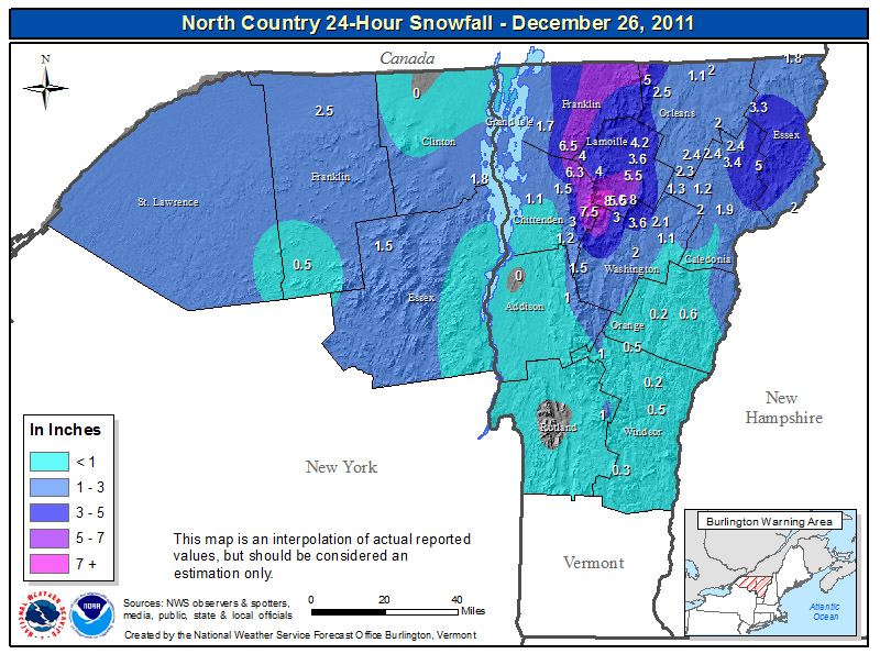 A map of snow totals from the National Weather Service Office in Burlington Vermont for the Alberta Clipper and associated upslope snowon December 25-26, 2011