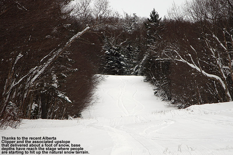 An image of ski tracks on the Cobrass Lane trail at Bolton Valley Resort in Vermont - December 27, 2011 - Recent snows have provided sufficient base for some of the natural snow terrain.
