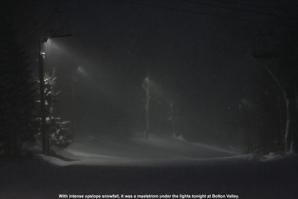 An image of Bolton Valley's night skiing lights obscured by heavy snowfall - December 28, 2011