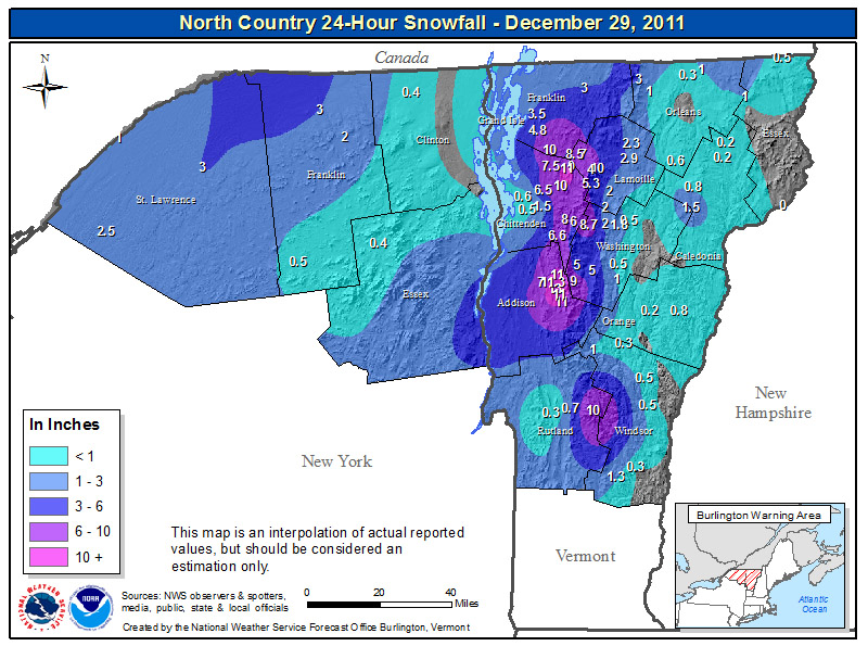 A map of snow totals from the National Weather Service Office in Burlington Vermont for the snowstorm on December 27-28, 2011